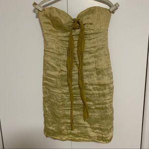 Nicole Miller size 6 strapless green dress formal